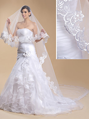 Wedding Veil One-tier Cathedral Veils Lace Applique Edge 118.11 in (300cm) Tulle / Lace White White / IvorySheath/ Column / Trumpet/