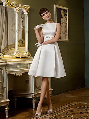Lanting Bride A-line Petite / Plus Sizes Wedding Dress-Knee-length Bateau Satin