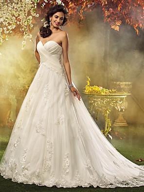 Lanting Bride® גזרת A / נסיכה קטן / מידה גדולה שמלת כלה - קלסי ונצחי / אלגנטי ויוקרתי בהשפעת וינטאג' שובל קורט מחשוף לב טול עםאפליקציות
