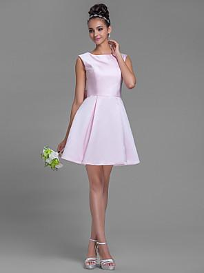 Lanting Bride® קצר \ מיני סאטן שמלה לשושבינה - גזרת A סירה פלאס סייז (מידה גדולה) / פטיט עם פפיון(ים)