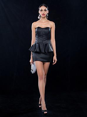נדן / טור שמלה חמודה קצרה / מיני מתיחת סאטן קוקטייל (699,491)