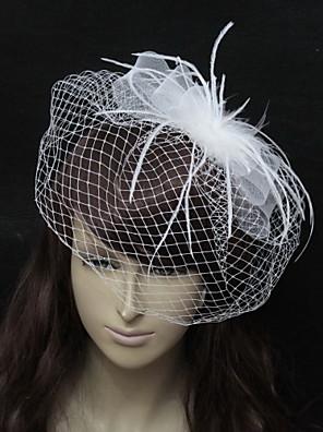 Véus de Noiva Uma Camada Véu Ruge Organza Branco / Preto Linha-A, Vestido de Baile, Princesa, Bainha/Coluna, Trompete/Sereia