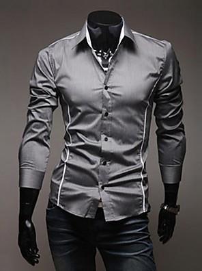 אנשיו של חולצה חלק פוליאסטר שרוול ארוך יום יומי שחור / לבן / אפור