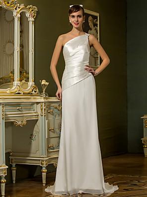 Lanting Bride® Pouzdrové Drobná / Nadměrné velikosti Svatební šaty - Elegantní & moderní Sade ve Hoş Dlouhá vlečka Jedno ramenoŠifón /