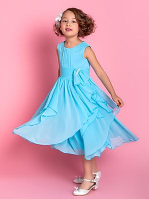 A-line Tea-length Flower Girl Dress - Chiffon Sleeveless Scoop with Bow(s) / Sash / Ribbon / Cascading Ruffles