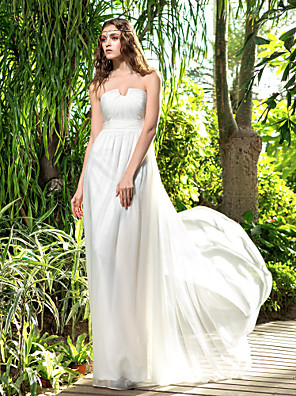 Lanting Bride® Sheath / Column Petite / Plus Sizes Wedding Dress - Classic & Timeless Floor-length Strapless Chiffon with