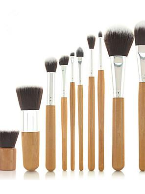 Pro High Quality 10 PCs Synthetic Hair Bamboo Handel Makeup Brush Set with Fibre Bag