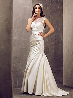 Lanting Bride® בתולת ים \ חצוצרה קטן / מידה גדולה שמלת כלה - אלגנטי ויוקרתי / זוהר ודרמטיות שובל סוויפ \ בראש עם תכשיטים תחרה / סאטן עם