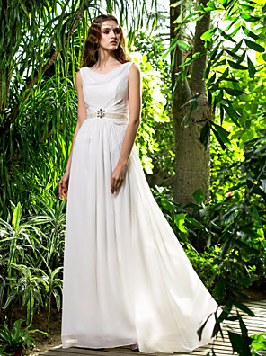 Lanting Bride® מעטפת \ עמוד קטן / מידה גדולה שמלת כלה - קלסי ונצחי שובל סוויפ \ בראש ברדס שיפון עם