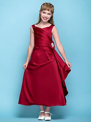 Tea-length Satin Junior Bridesmaid Dress A-line V-neck Natural with Flower(s) / Criss Cross