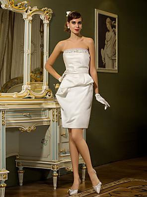 Lanting Bride® Tubinho Pequeno / Tamanhos Grandes Vestido de Noiva - Chique e Moderno / Recepção Curto / Mini Tomara que Caia Cetim com