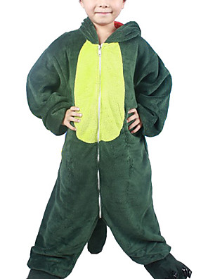 Kigurumi Pyžama Dinosaurus Leotard/Kostýmový overal Festival/Svátek Animal Sleepwear Halloween Zelená Patchwork Flanel Kigurumi Pro Dítě