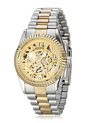 Dames Dress horloge Automatisch opwindmechanisme Roestvrij staal Band Glitter Goud Merk- WINNER