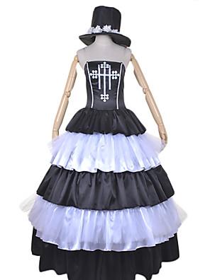 קיבל השראה מ One Piece Perona אנימה תחפושות קוספליי חליפות קוספליי / שמלות טלאים לבן / שחור שמלה / כובע