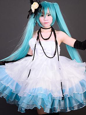 Inspirovaný Vocaloid Hatsune Miku Video Hra Cosplay kostýmy Cosplay šaty / Šaty Patchwork Biały / Czarny / NiebieskiK šatům / Čelenka /