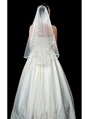 """Závoje Jedna vrstva Závoje po konečky prstů Lemování se stuhou 135 cm (53,15"""") Tyl Bílá / Slonová kostÁčkový střih, plesové šaty,"""
