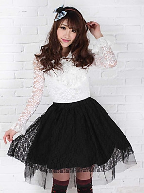 Black Lace Pretty Lolita Princess Kawaii Muslin skjørt Lovely