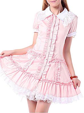 Uma-Peça/Vestidos Doce Princesa Cosplay Vestidos Lolita Rosa Rendas Manga Curta Lolita Vestido Para Feminino Algodão