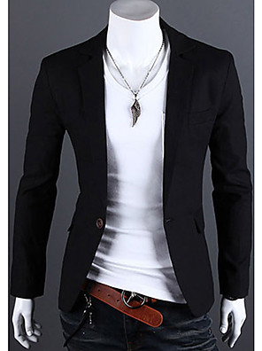 Men's White/Black/Pink Solid Color Basic Blazer