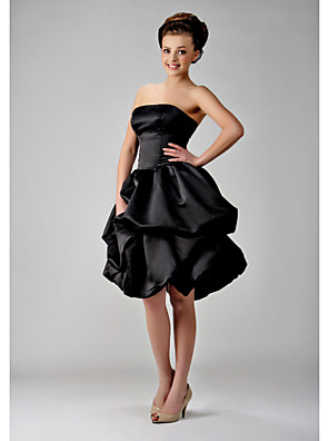 Knee-length Satin Bridesmaid Dress - Little Black Dress Ball Gown Strapless Plus Size / Petite with Bow(s) / Pick Up Skirt / Sash / Ribbon