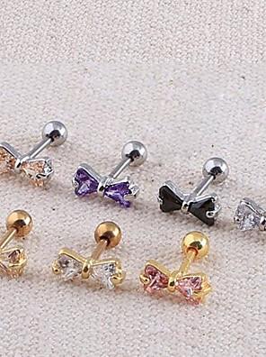 lureme®316l kirurgisk titanium stål zircon bowknot enkelt ørestikker (tilfældig farve)