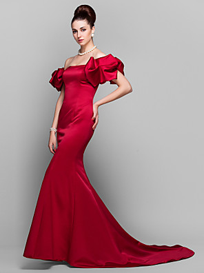 TS Couture® Formal Evening Dress Plus Size / Petite Trumpet / Mermaid Off-the-shoulder Court Train Satin with