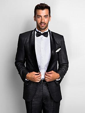 černý polyester standardní fit dvoudílný smoking