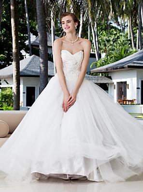 Lanting brud ball kjole petite / plus størrelser brudekjole-fotsid kjæreste charmeuse / stretch satin