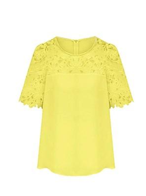 여성의 솔리드 라운드 넥 짧은 소매 블라우스,심플 캐쥬얼/데일리 화이트 / 블랙 / 옐로 여름 얇음