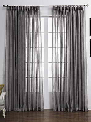 zwei Panele Window Treatment Rustikal , Solide Wohnzimmer Leinen-Polyestergewebe Stoff Gardinen Shades Haus Dekoration For Fenster