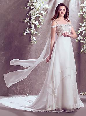 몸집이 작은 A 라인 신부 lanting / 플러스 오프 - 더 - 어깨 쉬폰 웨딩 드레스 코트 기차 크기