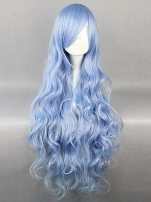 פאות קוספליי Date A Live Yoshino כחול ארוך / מסולסל אנימה פאות קוספליי 90 CM סיבים עמידים לחום נקבה