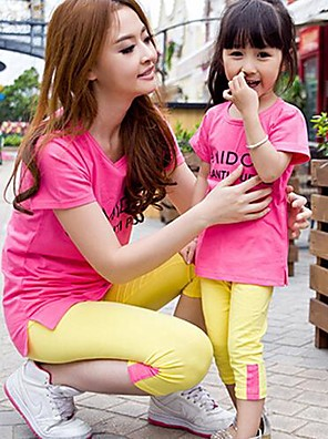 Family's Casual Beach Colorful Pure Cotton Long Sleeves T-Shift& Pants Parentage Clothes