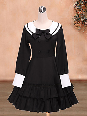 Cool Fighter Long Sleeve Knee-length Black Cotton Sailor Lolita Dress
