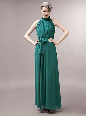 JOANNE KITTEN  Women's Sexy Chiffon Stand Collar Sleeveless Solid Color Maxi Dress