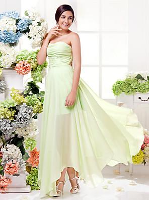 Lanting Bride® Asymetrické Šifón Šaty pro družičky - Pouzdrové Srdce Větší velikosti / Malé s Sklady