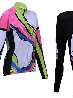 REALTOO® חולצה וטייץ לרכיבה לנשים שרוול ארוך אופניים נושם / שמור על חום הגוף / בטנת פליזטייץ רכיבה על אופניים / חולצה+מכנס / ג'רזי / מדים