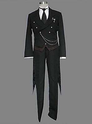 Inspirado por Black Butler Sebastian Michaelis Anime Fantasias de Cosplay Ternos de Cosplay Cor Única Preto Manga CompridaSmoking /