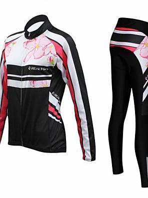 REALTOO® חולצה וטייץ לרכיבה לנשים שרוול ארוך אופניים נושם / שמור על חום הגוף / ייבוש מהיר / חדירות ללחות / תומך זיעה / 3D לוחטייץ רכיבה