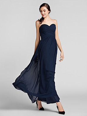 Floor-length Chiffon Bridesmaid Dress Sheath / Column SweetheartApple / Hourglass / Inverted Triangle / Pear / Plus Size / Petite /