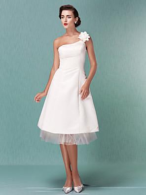 Lanting Bride® Linha A / Princesa Pequeno / Tamanhos Grandes Vestido de Noiva - Clássico e atemporal / Recepção Vestidos Brancos Justos