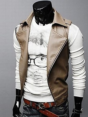 Men's Lapel Collar Inclined Zipper Locomotive Leather Vest