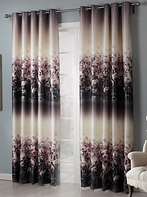 To paneler Rustik Blomster / botanik Sort Soveværelse Polyester Mørklægningsgardin forhæng