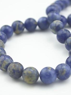 toonykelly 10mm aranyos természetes kék lapis lazuli kerek kő DIY gyöngyök 30pc / zsák