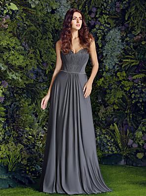 Lanting Bride® Na zem Úplet Šaty pro družičky - Pouzdrové Srdce Větší velikosti / Malé s Korálky / Nabírání / Boční řasení