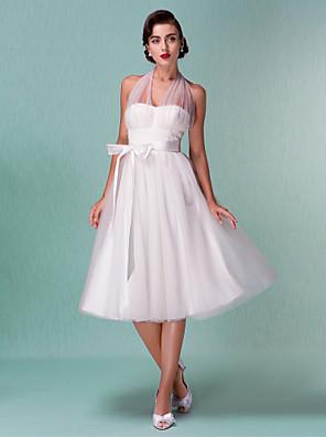 Lanting Bride A-line / Princess Petite / Plus Sizes Wedding Dress-Knee-length Halter Satin / Tulle