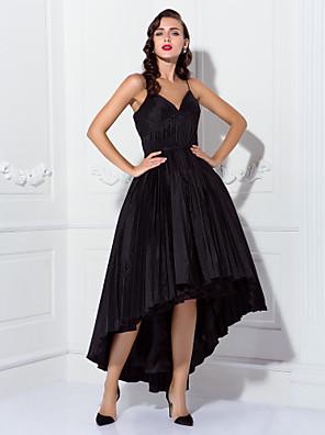 מסיבת קוקטייל / נשף שמלה - שנות ה-50 נשף רצועות ספגטי א-סימטרי טפטה עם תד נשפך / סרט / בד נשפך בצד