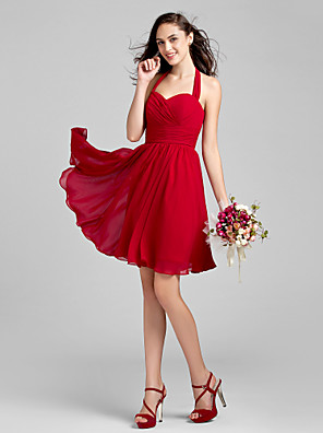 Knee-length Chiffon Bridesmaid Dress A-line Halter Plus Size / Petite with Criss Cross / Ruching