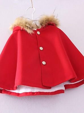 Effen-Tweed-Herfst-Girl's-Trenchcoat-Blauw / Rood