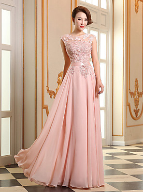 Prom / Formal Evening Dress - Lace-up A-line Jewel Floor-length Georgette with Appliques / Beading / Pearl Detailing